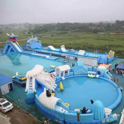 金太阳游乐订做 大型充气水池 水上乐园 充气水滑梯