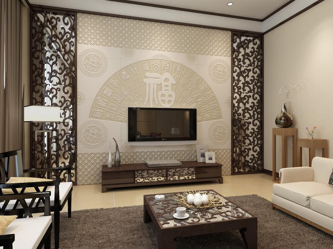 2016现代中式客厅电视背景墙装修效果图 款款迷人
