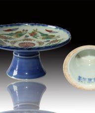 精美霁蓝釉福寿赏盘