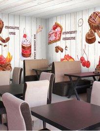 咖啡馆壁画 /甜品店壁画墙纸 /奶茶店墙纸壁画/姿彩壁画