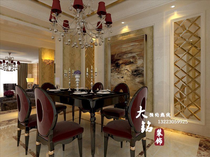 郑州汇景湾小区古典欧式样板房设计-沉稳古典欧式风格装修效果图
