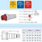 125A-6h工業插頭插座,工業連接器