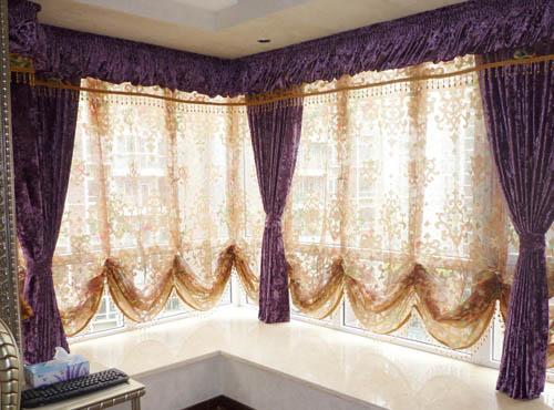客厅,餐厅,主卧的落地窗要结合装修风格选购窗帘和窗纱——欧式古典图片