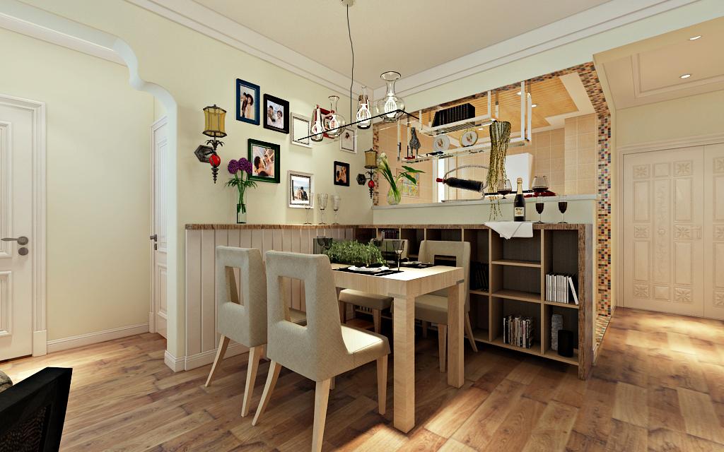 阳台上的花架立体美观,吧台充当了餐厅与厨房的隔断,同时,也满足了