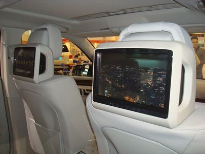 保时捷卡宴后座娱乐系统 保时捷头枕显示屏3g_汽车热