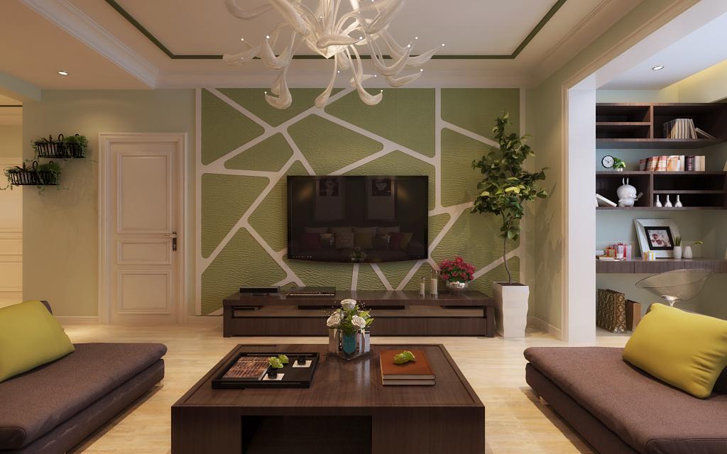 运用环保材料硅藻泥,美观又环保,玄关电视柜餐桌椅运用木质,当现代遇