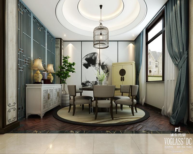 新中式风格非常讲究空间的层次感,依据住宅使用人数和私密程度的不同,需要做出分隔的功能性空间,一般采用哑口或简约化的博古架来区分;在需要隔绝视线的地方,则使用中式的屏风或窗棂,通过这种新的分隔方式,单元式住宅就展现出中式家居的层次之美。 尚东鼎370卧室装修设计图