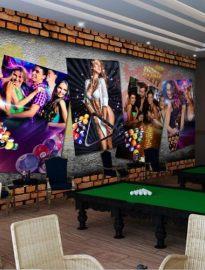 台球厅壁画/ 台球主题壁画 /桌球城壁画/姿彩壁画