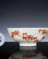 矾红彩修竹碗
