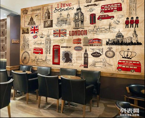 复古电影明星海报拼图墙纸壁画/咖啡奶茶店大型壁画酒吧壁画